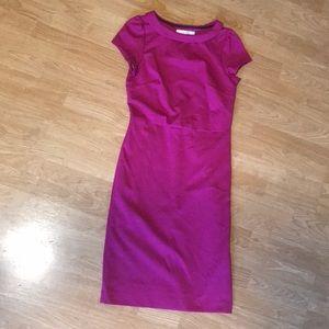 Boden Fuschia cap sleeve midi dress size 10